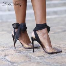 DorisFanny de marca de lujo sandalias de PVC claro cristales tacones  transparente sandalias de las mujeres zapatos de verano 9cacfdc13f9d