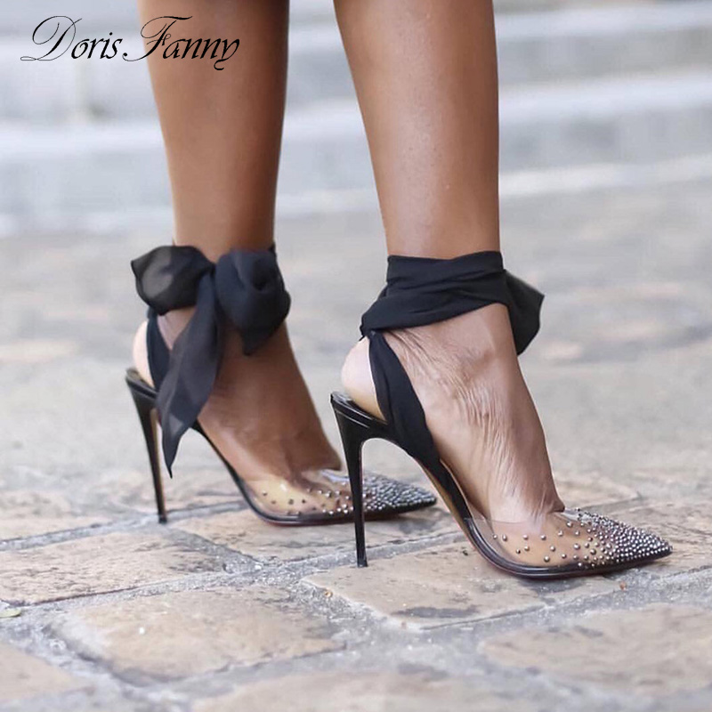 Sandales à lanières de marque Doris Fanny en PVC transparent à talons transparents pour femmes, sandales, chaussures d'été
