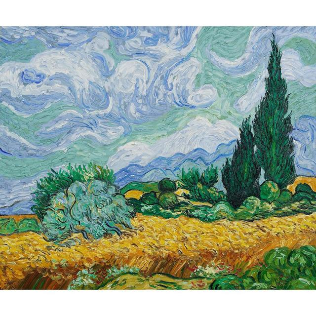 Handmade Canvas art online Vincent Van Gogh oil paintings Landscapes Wheat  Field with Cypresses High quality - Handmade Canvas Art Online Vincent Van Gogh Oil Paintings Landscapes