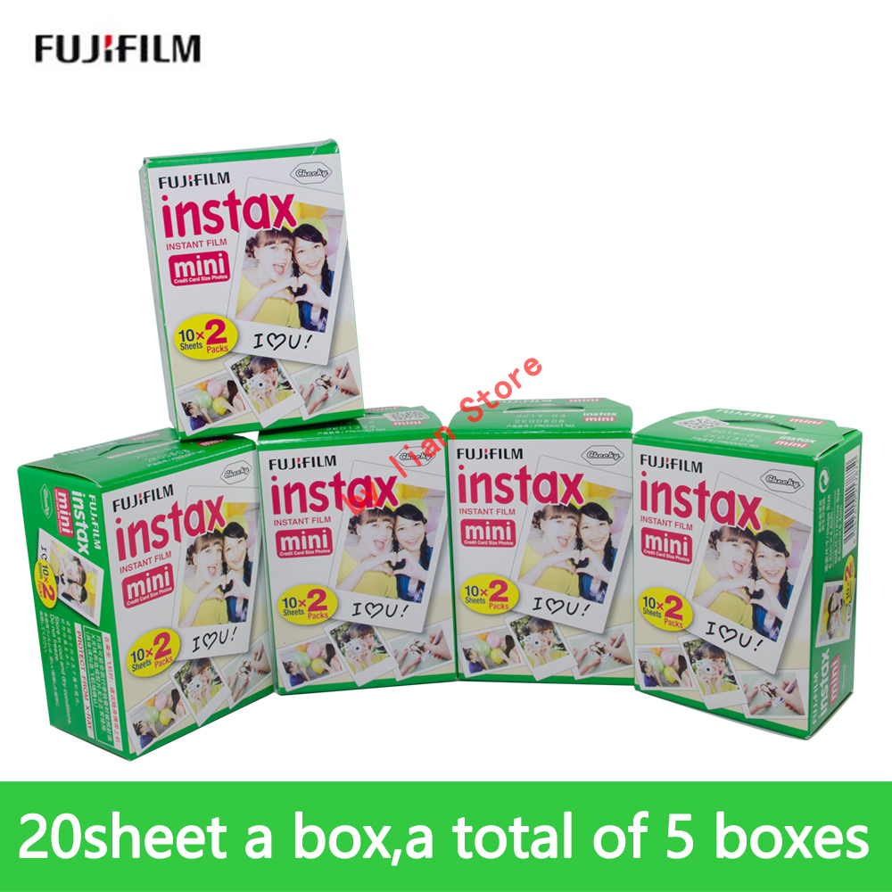 fujifilm instax mini8 FILM 100 sheet Fuji instsnt photo Photo Stickers for mini9 7s 25 50s 90 Instant Camera Paper 5 packs fuji fujifilm instax mini instant film monochrome photo paper for mini 8 7s 7 50s 50i 90 25 dw share sp 1 cameras