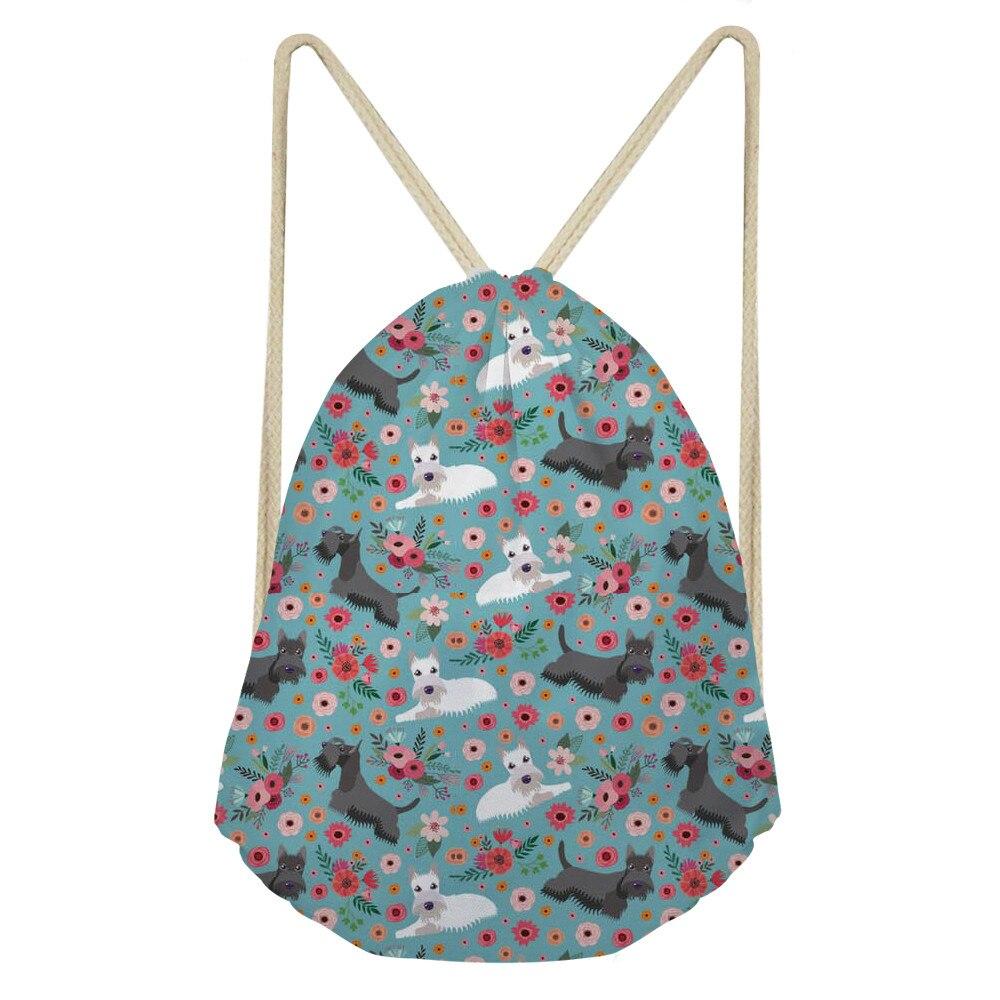 ThiKin Portable Scottish Terrier Prints Drawstring Bags Women Storage Shoes Drawstring Bag Girls Travel Cute Backpack Bag