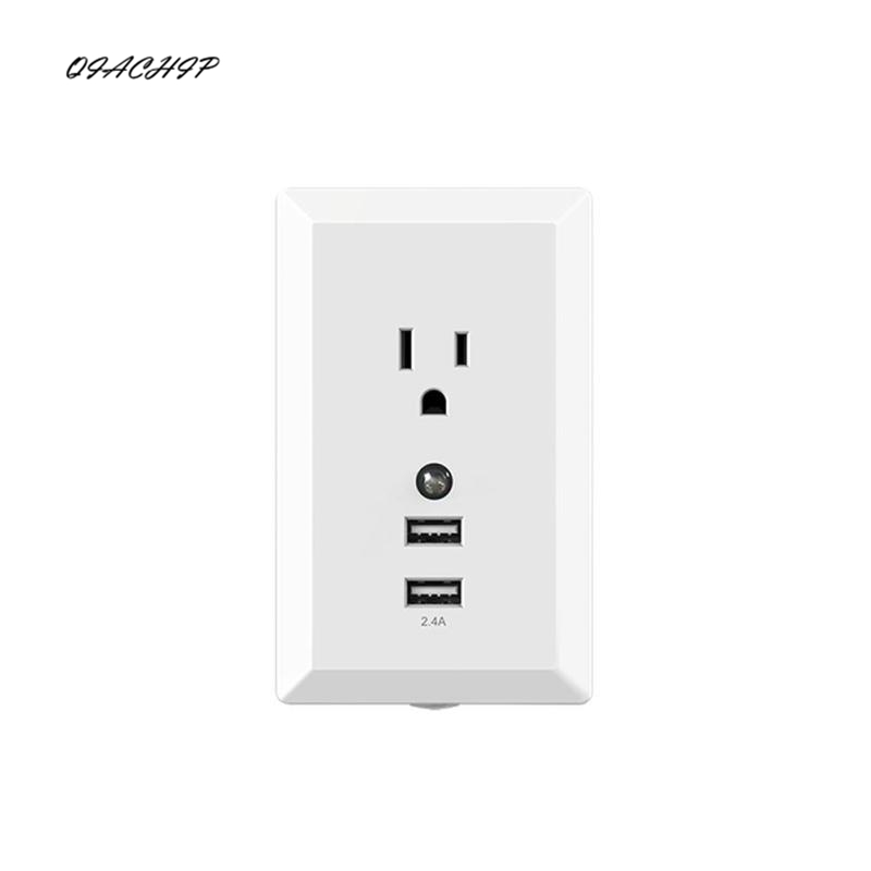QIACHIP Dual USB Wall Charger Socket High Speed Duplex Receptacle Power US Plug Dual USB Wall Outlet 15 Amp 125 Volt New new south africa power and usb charger pop up desk socket 100 pcs set