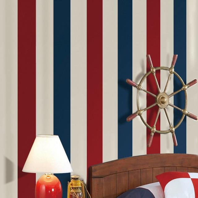 PAYSOTA Mittelmeer Blau Rot Vertikale Streifen Tapete Kinder Schlafzimmer  Zimmer Wand Papierrolle