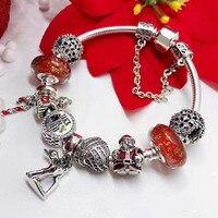Комбинировать со многими Рождество Подвески Европейский Стиль ручной работы роскошные 925 пробы серебро 925 пробы серебряный браслет змея