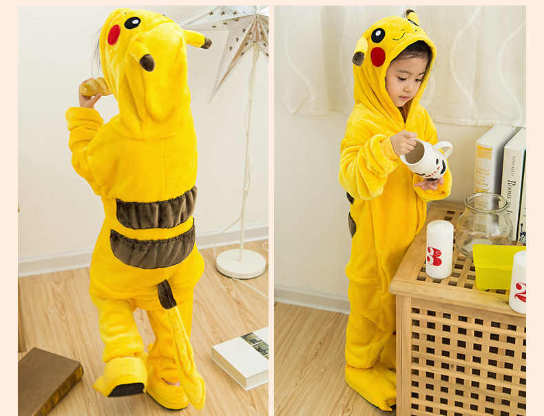 Onesie Pikachu Children Pokemon Pijama unicornio 키즈 코스프레 잠옷 원피스 잠옷 Halloween dinosaurus costume jumpsuit