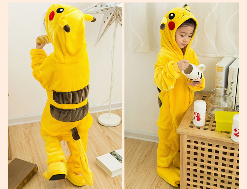 Onesie Pikachu Children Pokemon Pijama Unicornio Kids Cosplay Pajamas One Piece Sleepwear Halloween Dinosaurus Costume Jumpsuit