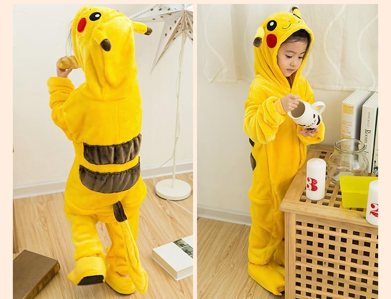 Onesie Pikachu Children Pokemon Pijama Unicornio Kids Cosplay Pajamas One Piece Sleepwear Halloween Dinosaurus Costume Jumpsuit