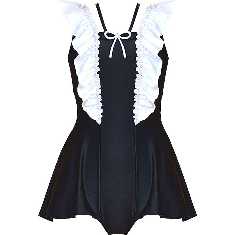 Siamese skirt type swimsuit Japanese cute sukumizu black swimwear in Body Suits from Sports Entertainment
