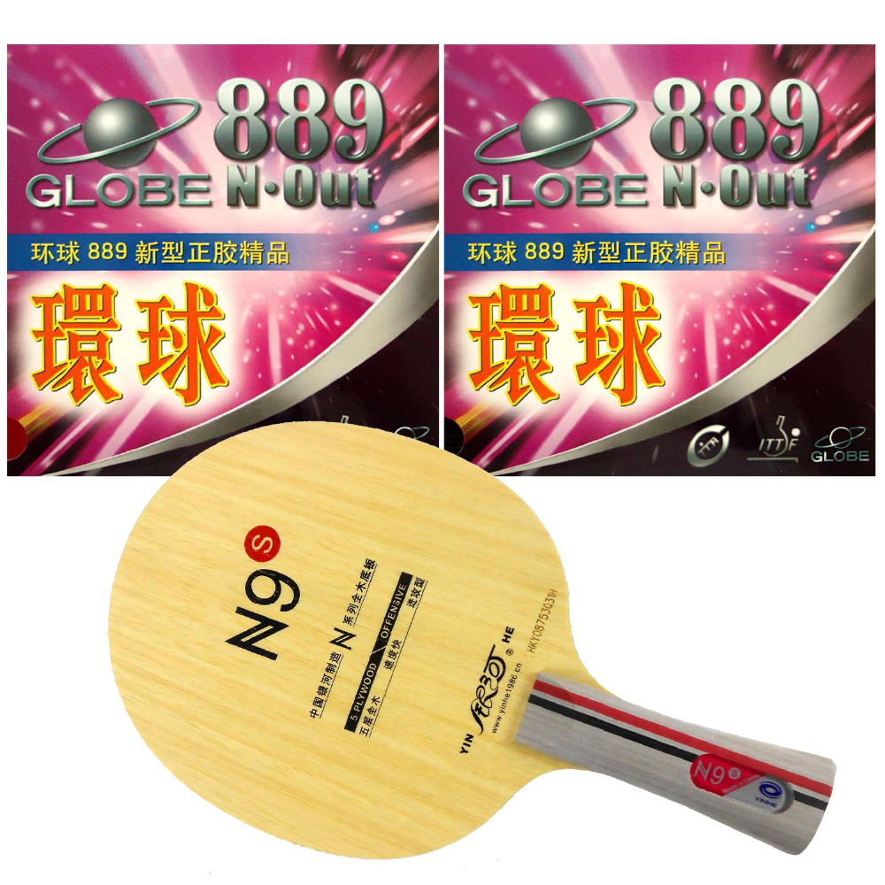 Pro Table Tennis PingPong Combo Racket Galaxy Yinhe N9s with 2x Globe 889 Rubbers Shakehand FL yinhe milky way galaxy n9s table tennis pingpong blade long shakehand fl
