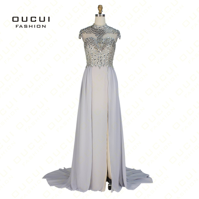 32adad7a9c Real Photos Chiffon Gary Color Crystal High Neck Prom Gown Formal Long  Evening Dress OL102868-in Evening Dresses from Weddings & Events on ...
