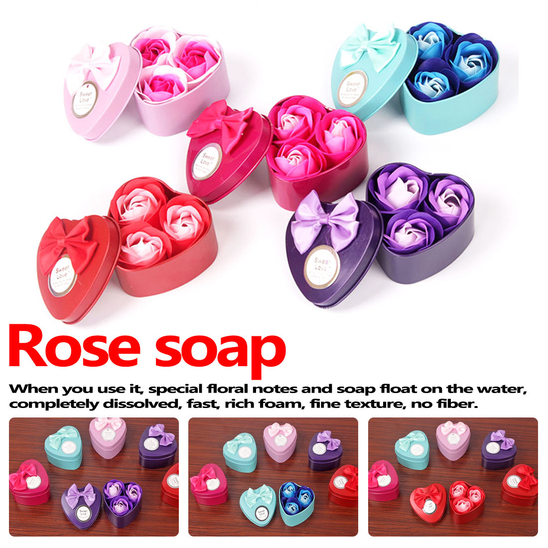 Rose Red 3Pcs Artificial Flower Rose Soap Flower Heart-Shaped Iron Box Scented Bath Body Petal Rose Small Gift Box