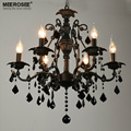 Vintage Black Crystal Chandelier Light Fixture 6 lights American Wrought Iron Chandelier Suspension Hanging Light