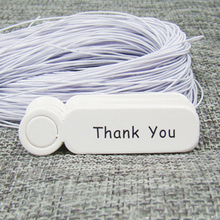 5*1.30cm white paper thank your gift swing tag 100pcs+100pcs elastic string for proudcts packing tagging label