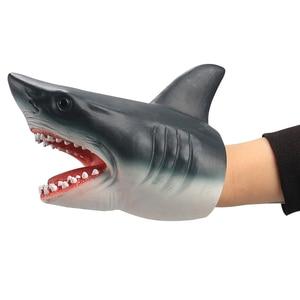 Image 1 - Kinder spiele Shark Dinosaurier Handpuppe Weiche Gummi Tier Kopf Handpuppen Realistische Shark Modell Abbildung Spielzeug Für Kinder Geschenke