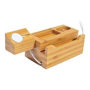 Image 2 - SZYSGSD טבעי עץ מטען מחזיק מעמד עבור iPhone X 8 7 מטען Dock עבור אפל שעון תחנת טעינה עבור אפל airpods להחזיק