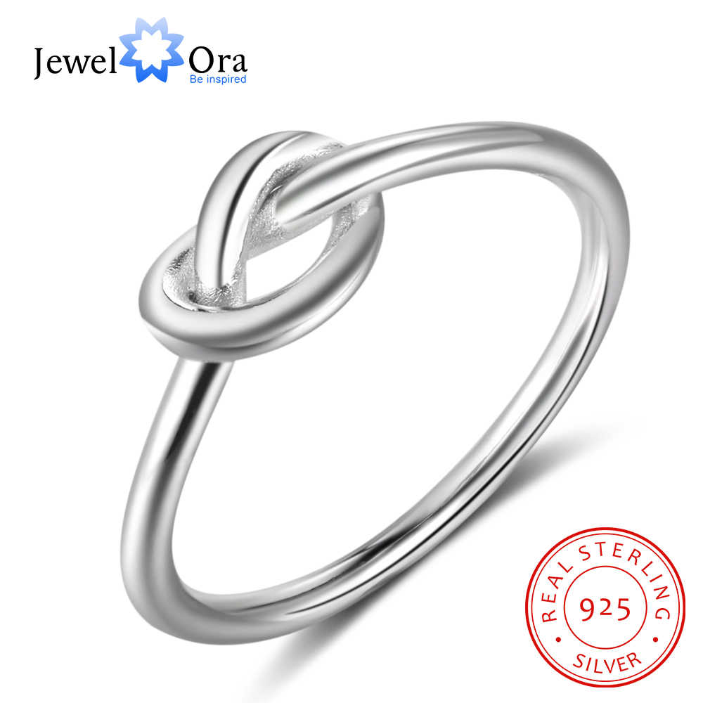 Genuine 925 Sterling Silver Knot Rings for Women Girls Female Finger Jewelry Birthday Gift for Best Friend (JewelOra RI102297)