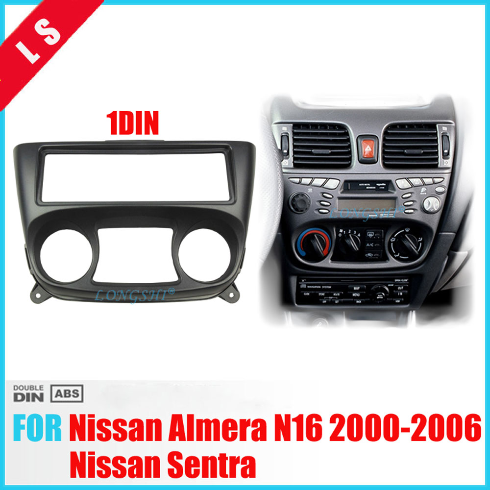 One 1 Din Fascia for NISSAN Almera N16 2000-2006 Radio DVD Stereo Panel Dash Install Trim Kit Face Surround Frame 1din image