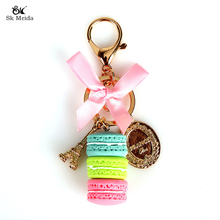Lovely Candy Colors Eiffel Tower Keychain Fashion Car Key chain Ornaments Charm Women Bag Pendant Gifts With Bow SP-15