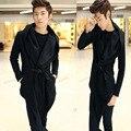 2017 Novos Homens de Inverno Coreano Com Capuz Moda Casaco de Lã Irregular dos homens Blusão Homens Casaco de Trincheira
