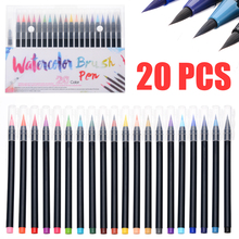 цена на 20 Colors Watercolor Painting Pen Watercolor Brush Pen Brushes Artist Sketch Drawing Marker Pens Set  For Card Production
