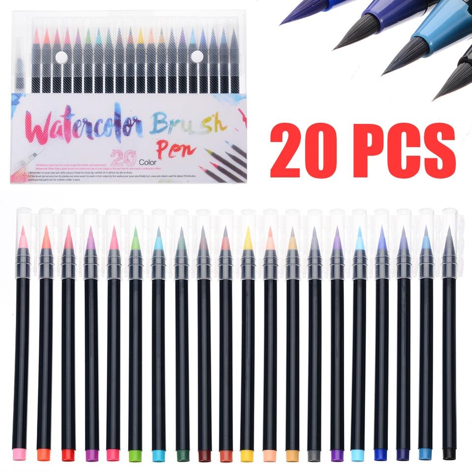US 9Pcs Weasel/'s Hair Paint Brush Watercolor Sketched Line Pen Draw Stylus Kit
