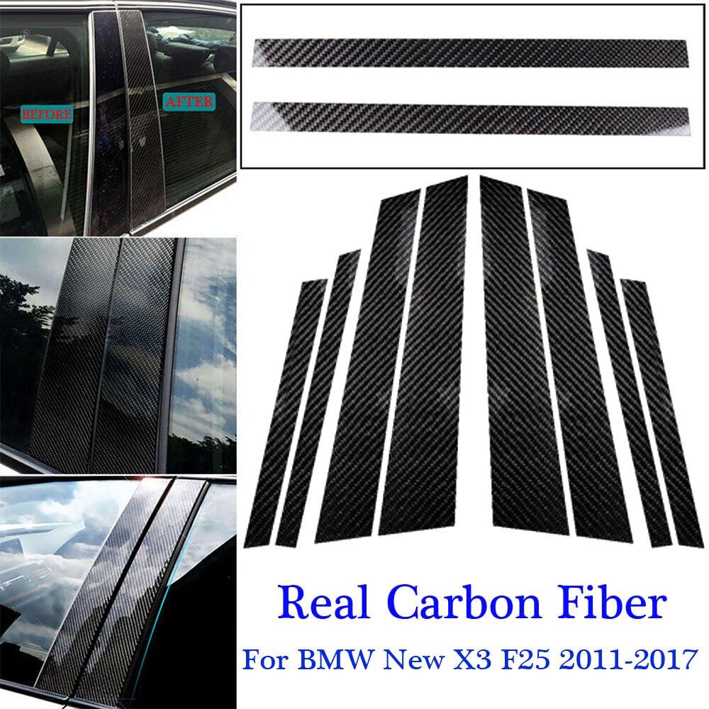Noir 1 set décalcomanie de remplacement b-pilier autocollants accessoire en Fiber de carbone voiture décorative pour BMW nouveau X3 F25 2011-17