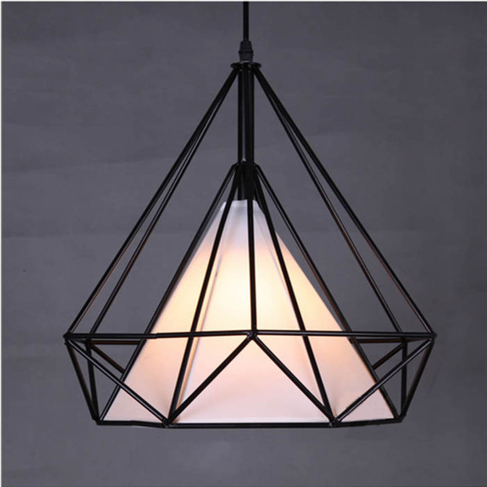 Modern novelty innovative pendant lamp wrought iron cage for Luminaire noir suspension