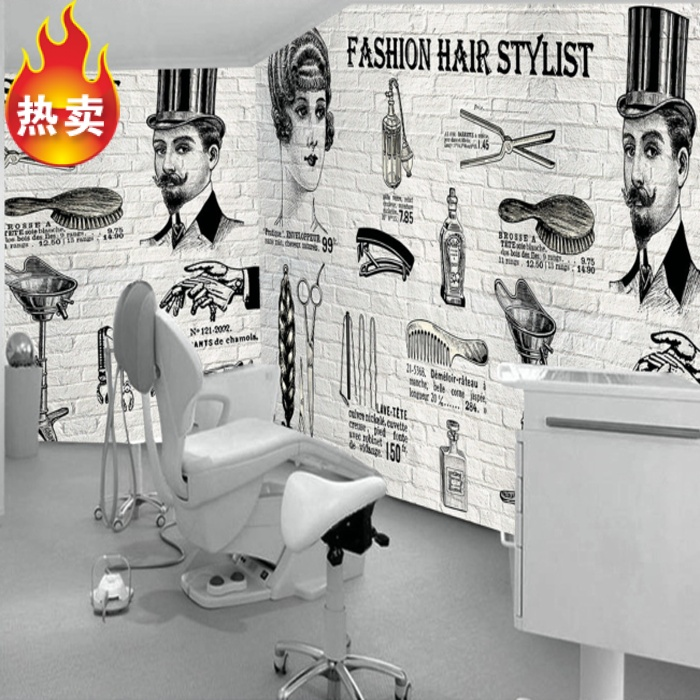 Custom 3d mural fashion hair salon wallpaper barber shop supermarket store bedroom decoration hair cutting tools wallpaper mural