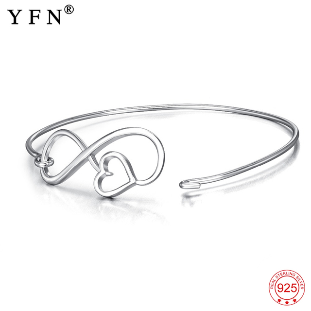 Yfn Authentic 925 Sterling Silver New Adjule Love Heart Bangle Infinity Bracelet Lucky Jewelry