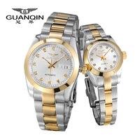 Новые любителей роскоши часы оригинальные GUANQIN лучший бренд класса люкс пара Часы кварцевые наручные часы Мода Водонепроницаемый Для мужчи
