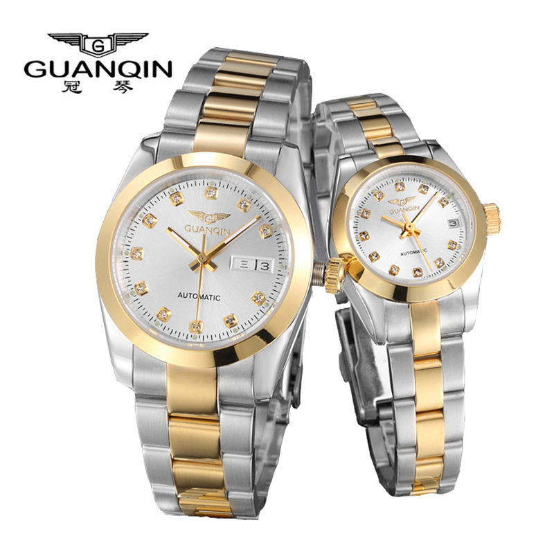 New Luxury Lovers watch Original GUANQIN Top Brand Luxury Couple Watches Quartz Wrist Watch Fashion Waterproof Men Wristwatches 2017 real eyki brand couple watches top luxury men s leather wrist lovers dress quartz watch waterproof relogio masculino