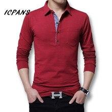 Icpans 폴로 셔츠 남성 긴 소매 2018 캐주얼 코 튼 패션 폴로 셔츠 남자 큰 크기 5xl 4XL 슬림 화이트 BlackTee 탑스