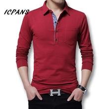 Icpans قميص بولو الرجال طويلة الأكمام 2018 القطن عادية قميص بولو على الموضة قميص بولو الرجال حجم كبير 5xl 4XL سليم الأبيض بلاكتي القمم