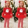 2016 Nuevo Invierno de la Navidad Linda Del Niño Kids Baby Girl Outfit Red Camiseta A Rayas Top + Tutu Vestido Jadean la Ropa Fijada