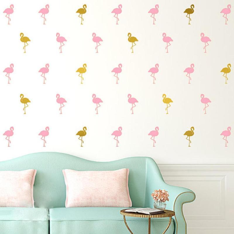 Симпатичные 15 Фламинго настенные наклейки красочные обои для детей номеров Диван Спальня украшение дома DIY Книги по искусству Наклейка ПВХ ...