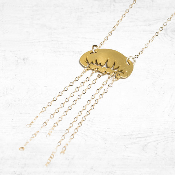 NianDi Jellyfish Necklace Gold Jellyfish Pendant Ocean Charm Beach Jewelry Mujer Necklace&Pendants Party Accessories YLQ0547