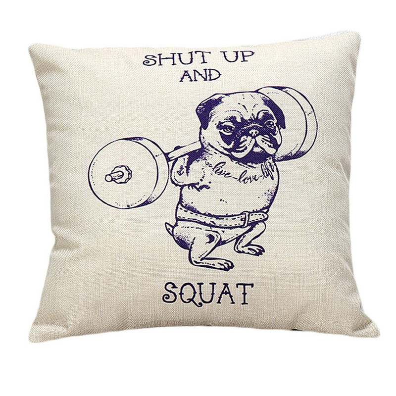 1pc weight lifting dog pattern pillowcase slip shut up and squat words throw cushion case home