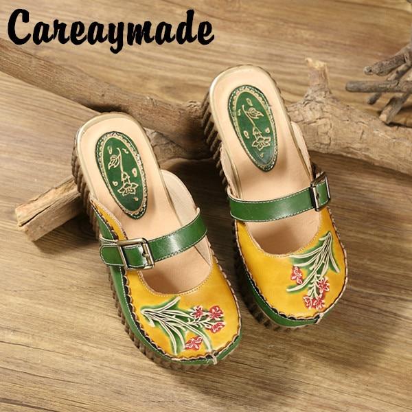 Careaymade folk style 헤드 레이어 소 가죽 순수한 수제 새겨진 신발, 레트로 아트 모리 걸 신발, 여성 캐주얼 샌들 1908 6-에서슬리퍼부터 신발 의  그룹 1
