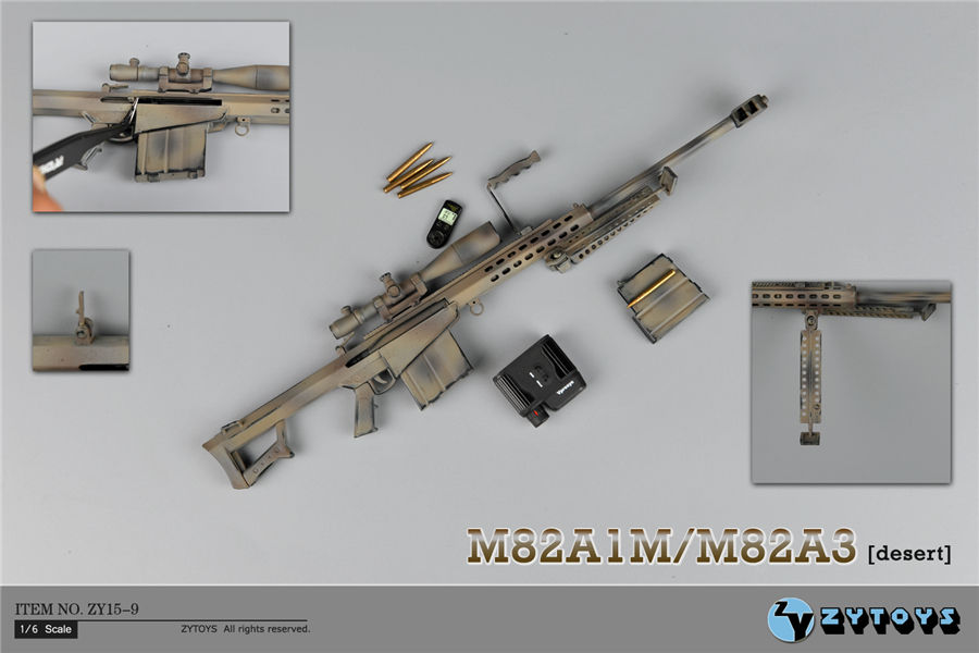 ФОТО  1:6 Scale Desert Color Barrett Sniper Rifle M82A1 Weapon Model Toys ZY15-9 for 12
