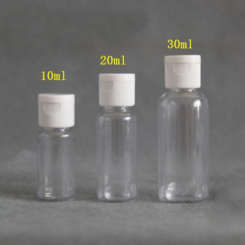 100 pces 5/10/20/30 ml viagem portátil vazio plástico tampa da aleta garrafa cosméticos shampoo loção líquido amostra garrafa dispensador frascos