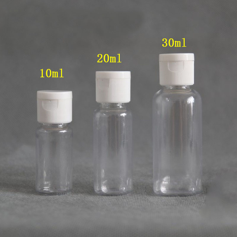 100PCS 5/10/20/30 Ml Travel Portable Empty  Plastic Flip Cap Bottle Cosmetic Shampoo Lotion Liquid Sample Bottle Dispenser Vials