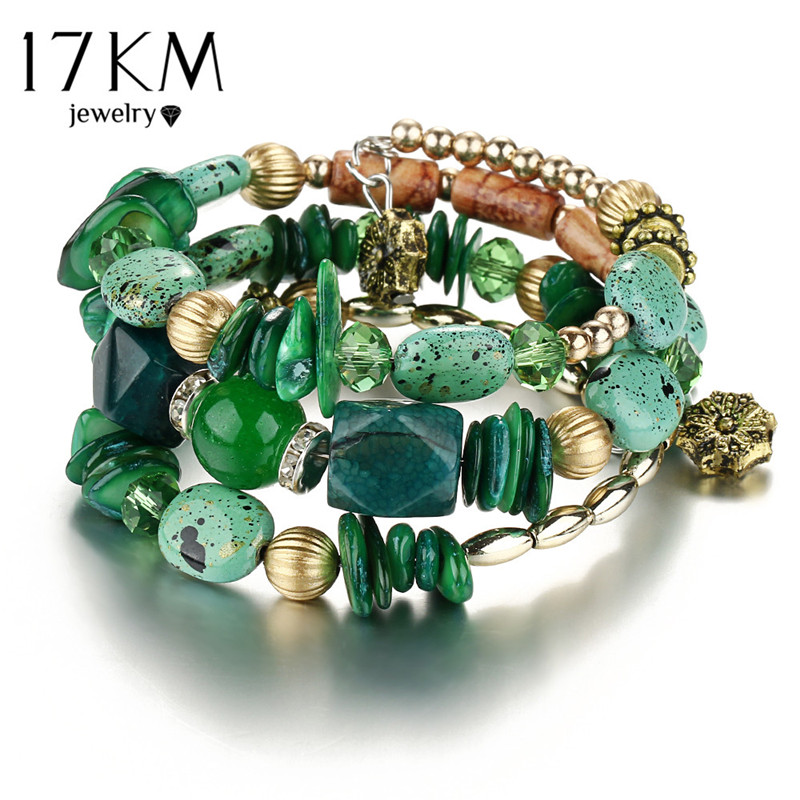 17KM Brand Woman Boho Multilayer Beads Charm Bracelets for Women Vintage Resin Stone Bracelets & Bangles Pulseras Ethnic Jewelry