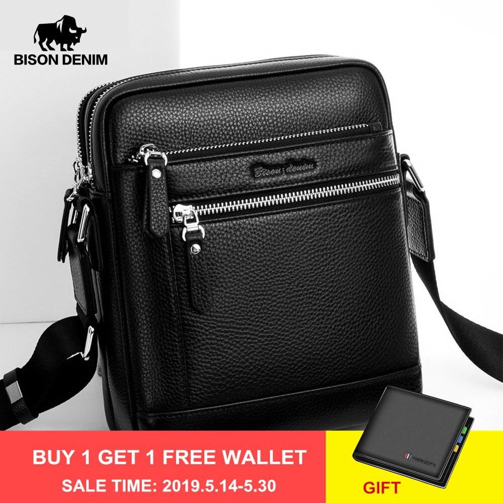 BISON DENIM classique noir homme sac en cuir véritable affaires sac à bandoulière iPad hommes Messenger sac décontracté bolsas mâle N2845