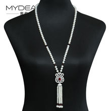 MYDEAR Long Pearl Necklace 8 9mm 100 Real Freshwater Pearl Sweater Chain Perfectly Round High Luster