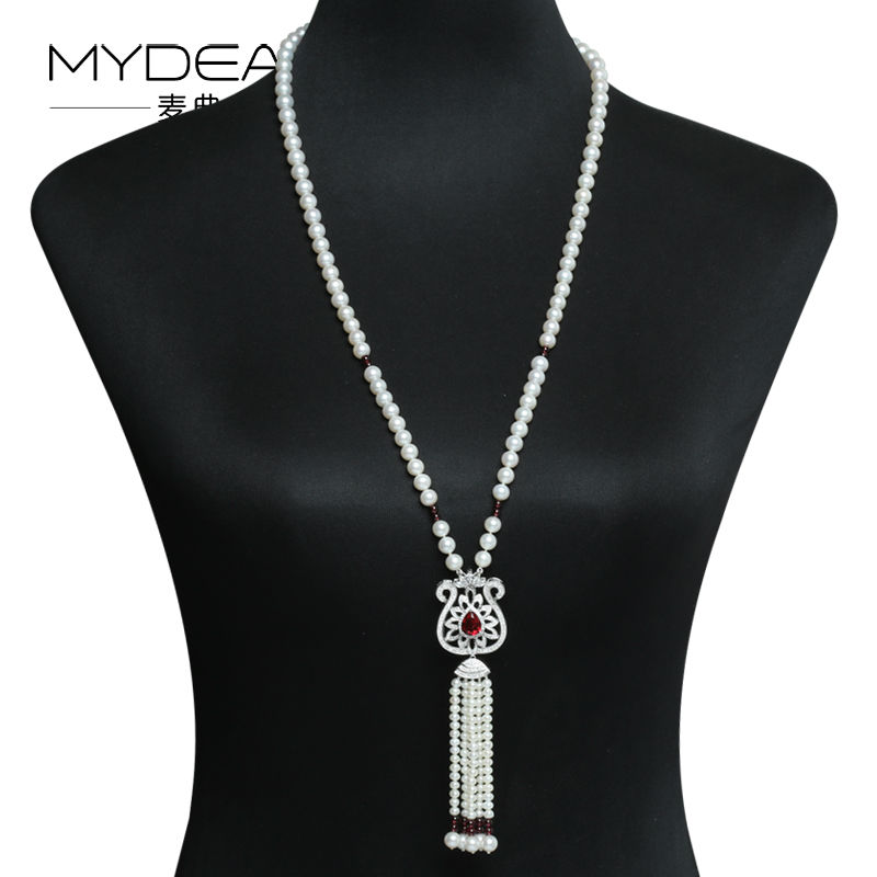 MYDEAR Long Pearl Necklace 8 9mm 100 Real Freshwater Pearl font b Sweater b font Chain