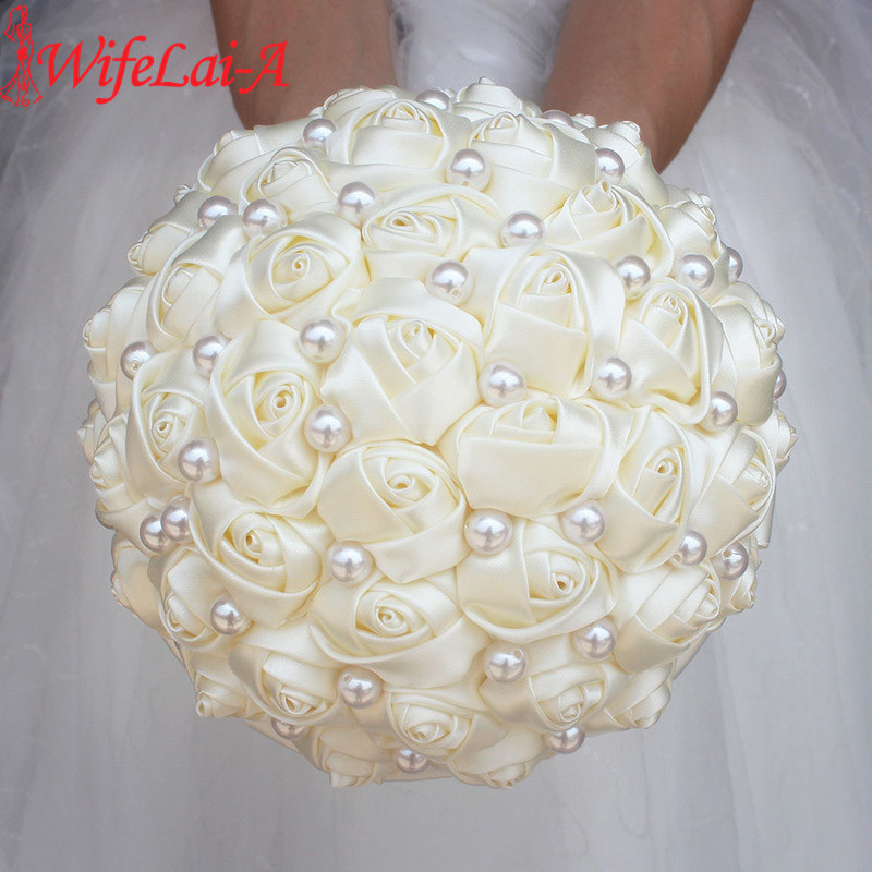 WifeLai-A Pure Color Ivory Bridal Wedding Bouquet Cream Satin Rose Artificial Flowers Wedding Bouquet De Novia On Sale W322-2