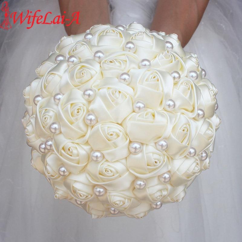 WifeLai-A Pure Color Ivory Bridal Wedding Bouquet Cream Satin Rose Artificial Flowers Wedding Bouquet De Novia On Sale W322-2