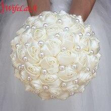 WifeLai saf renk fildişi gelin düğün buket krem saten gül yapay çiçekler düğün buket de novia satılık W322 2