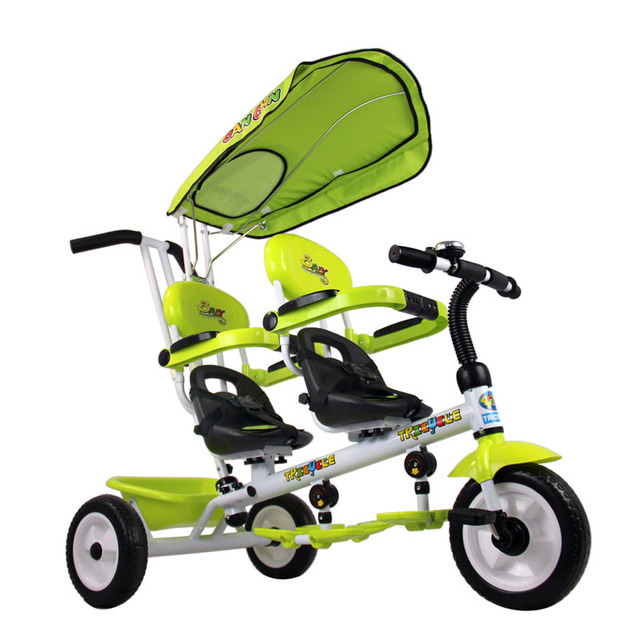 Twins rotate seat foam tyre trolley tricycle double seat baby trike 2 color for available