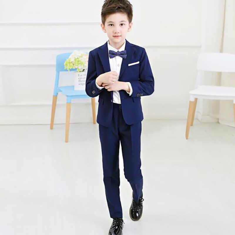 ec67e6780 ... 2019 nuevos trajes de niño niños trajes formales abrigos conjuntos de 4  piezas (chaqueta + ...